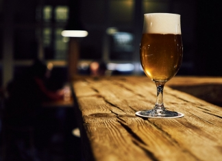 A newly poured ale awaits a customer in a West Virginia brewery.