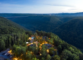 The Adventures on the Gorge Resort overlooks the New River Gorge National Park near Fayetteville, W.Va.
