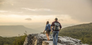 Hikers ascend the Allegheny Front at Dolly Sods in northeastern West Virginia.
