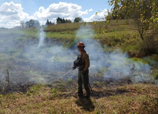 A member of the fire management team at Grandview tends a prescribed burn.