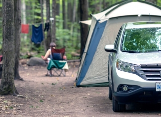Campers gather in a campground in the New River Gorge National Park.
