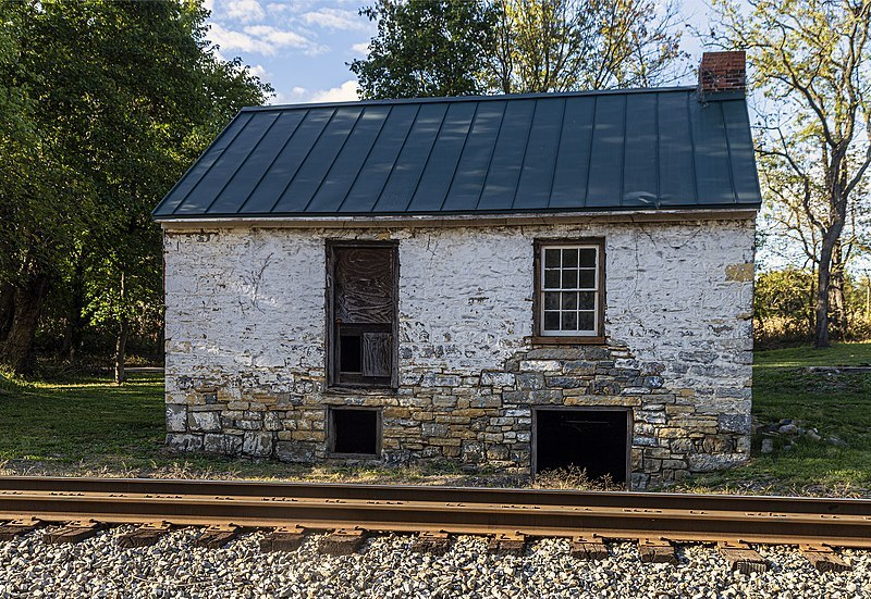 Duffields Depot stands along railroad