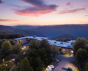 Lodges at Pipestem overlook the gorge of the Bluestone National Scenic River.