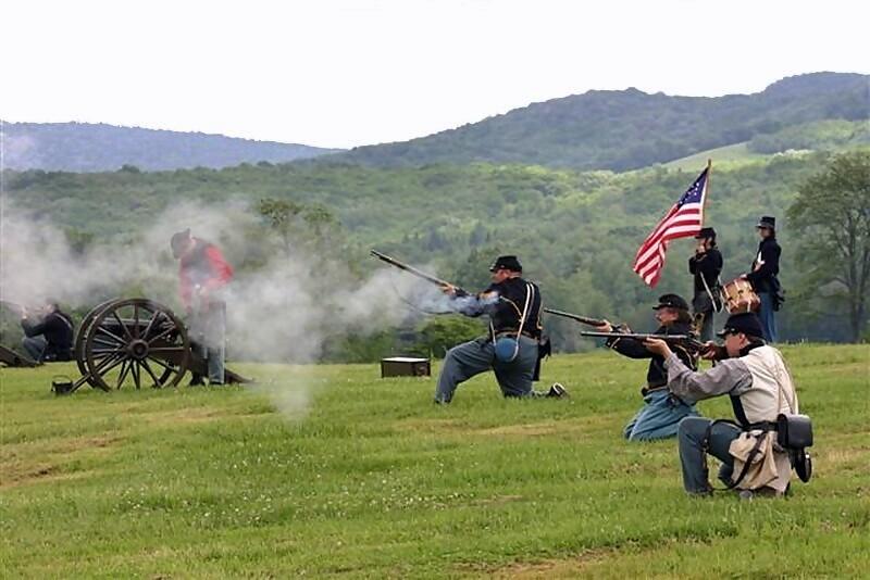 Civil War reenactors perform at Canaan Valley Resort in the Canaan Valley of northern West Virginia.