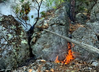 Fire travels through a boulderfield in Pendeleton County. (Photo courtesy W.Va. Dept. of Commerce)