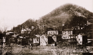 Conley Hill rises above the Town of Gauley Bridge, c. 1910.